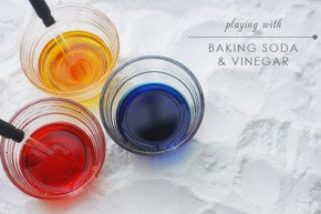 colored vinegar and baking soda